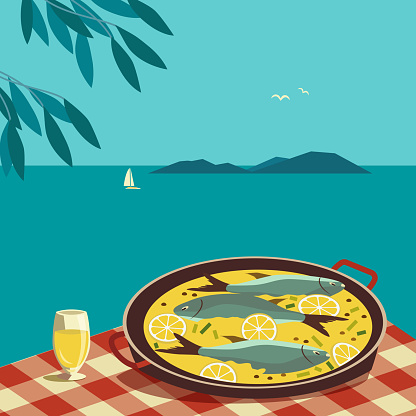 Flat hand drawn vector color seafood dish