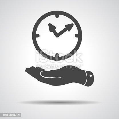 flat hand giving the clock icon - vector illustration