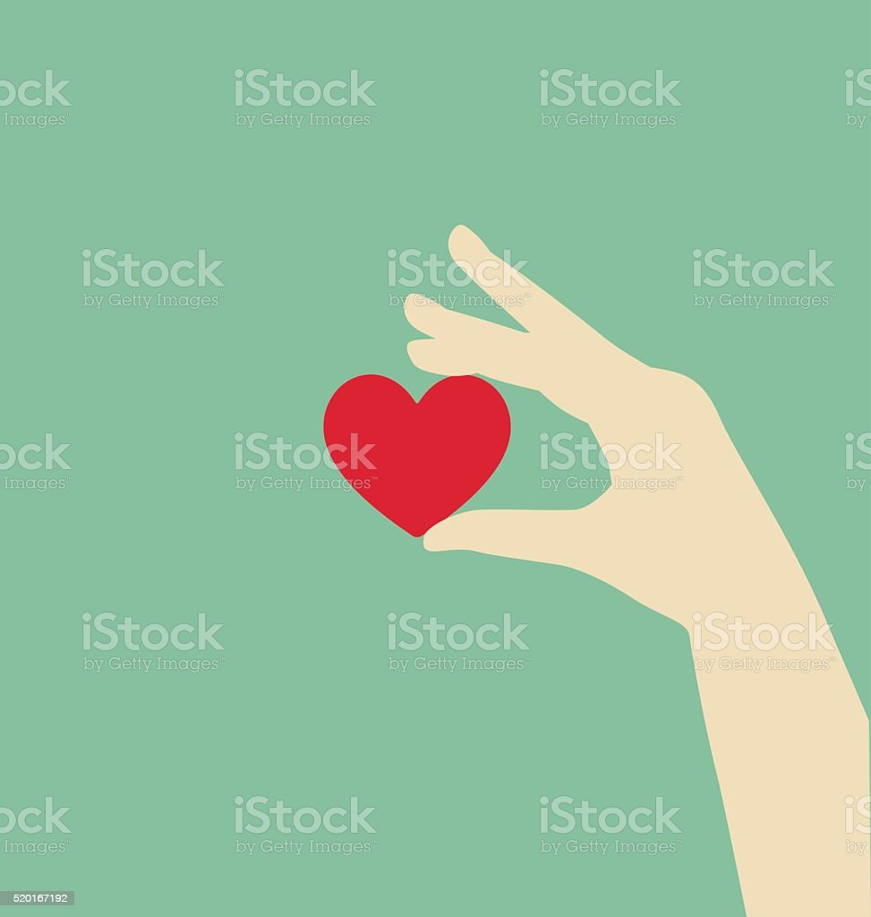 Flat Hand Holding Red Heart vector art illustration