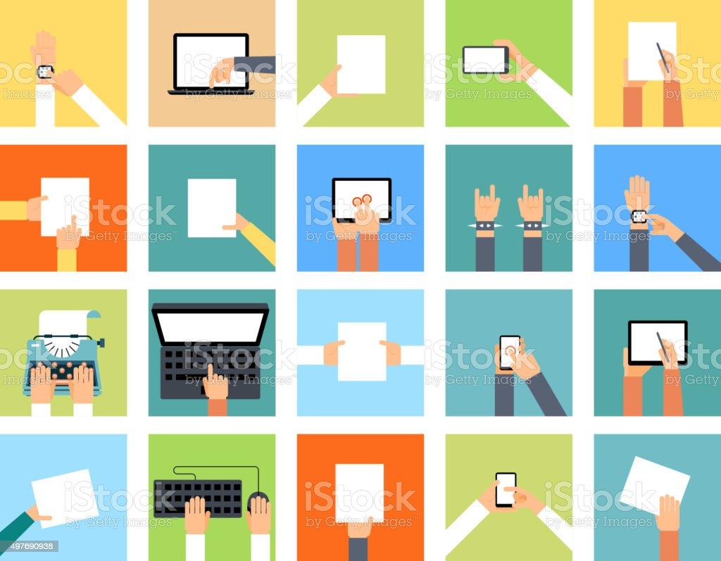 Icônes à la main tenant Divers appareils et les mains font - Illustration vectorielle