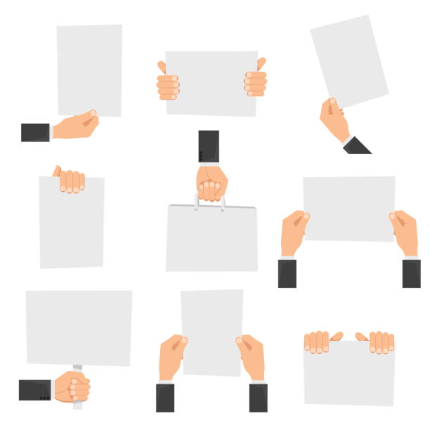 Flat hands holding empty signs – Vektorgrafik