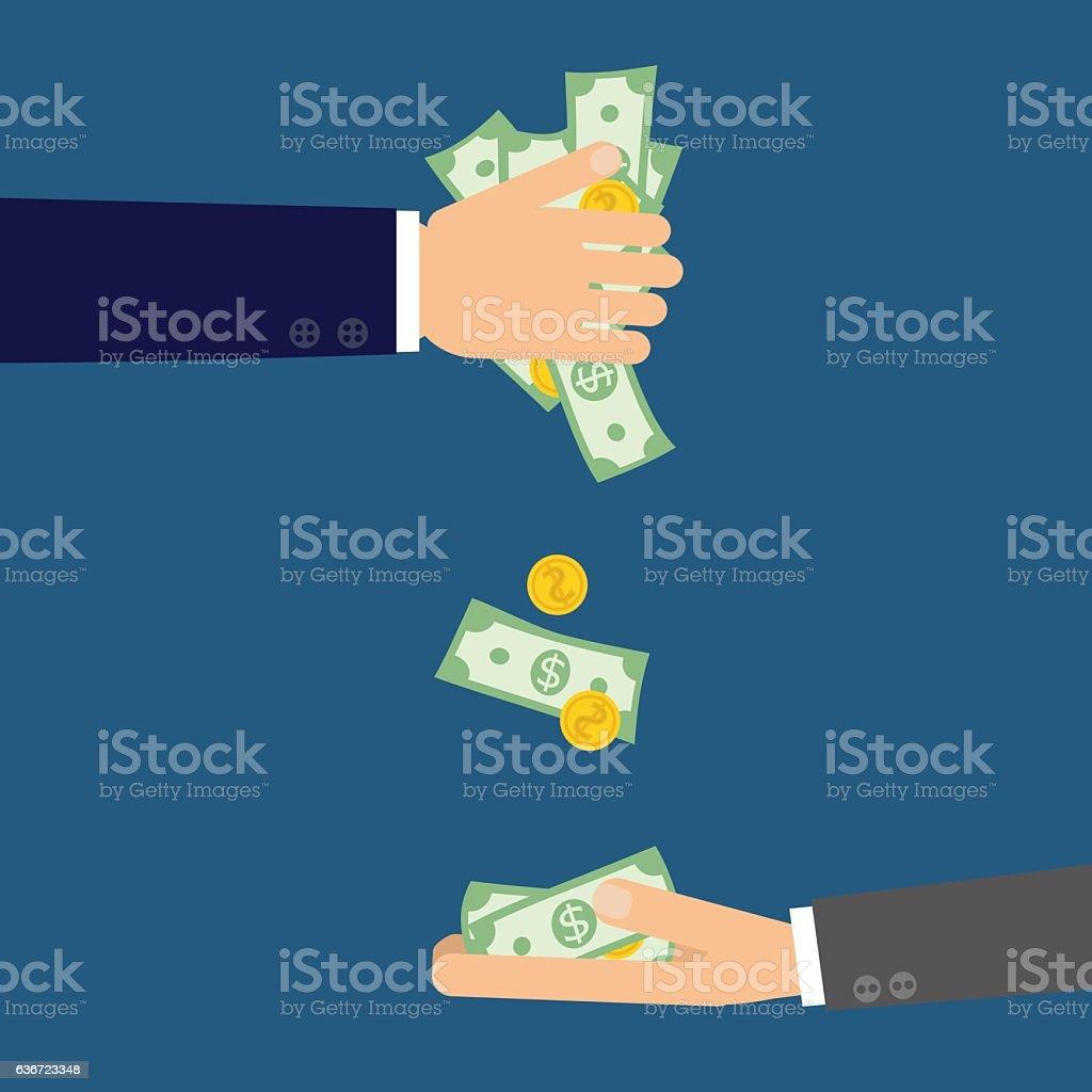 flat hands with money vector art illustration