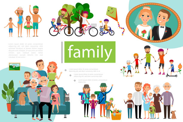flat happy family concept - old man on bike stock illustrations
