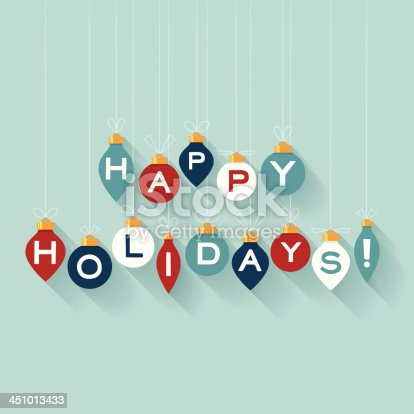Flat happy holidays message with copy space. EPS 10 file. Transparency effects used on highlight elements.