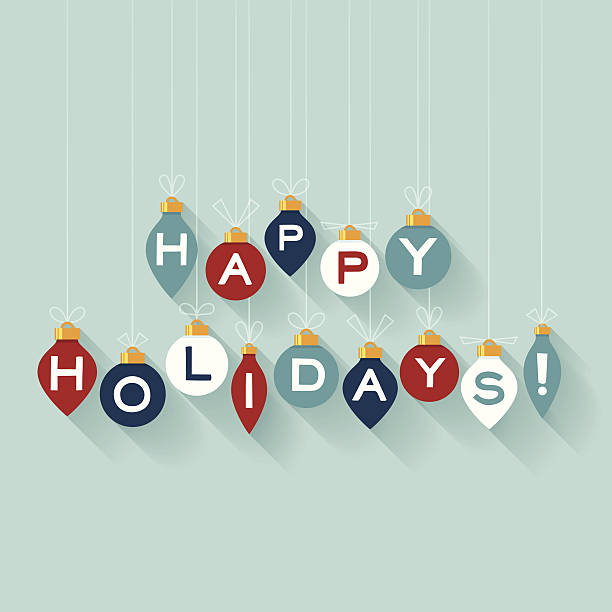 flat happy holidays - happy holidays stock illustrations