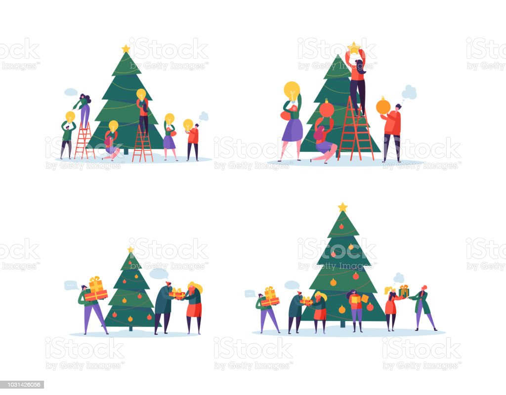 Flat Happy People Decorating Christmas Tree Merry Xmas Holiday Party ...