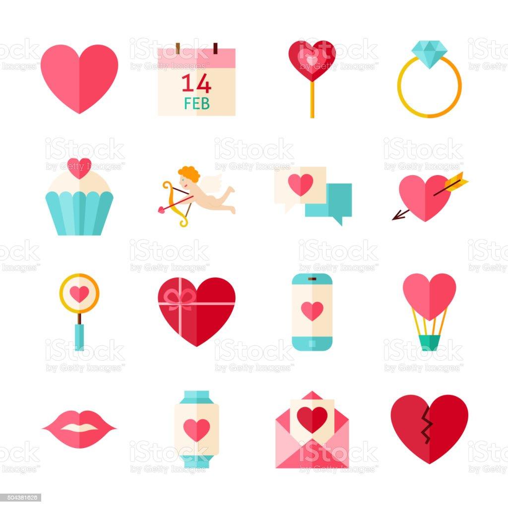 Flat Feliz Día De San Valentín Conjunto De Objetos Aislados En ...