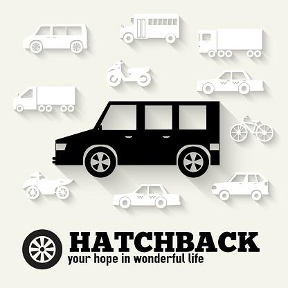 Flat hatchback car concept set icon backgrounds illustration design.