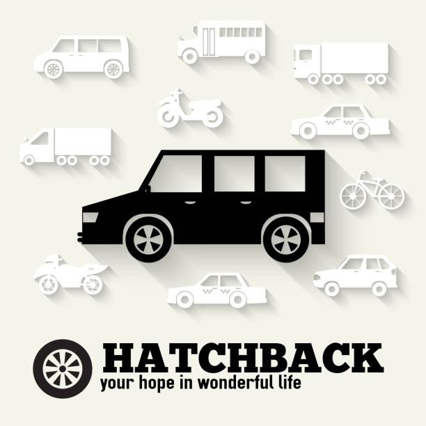 Coche con puerta trasera coche plano concepto iconos ilustración diseño conjunto de fondos. - ilustración de arte vectorial