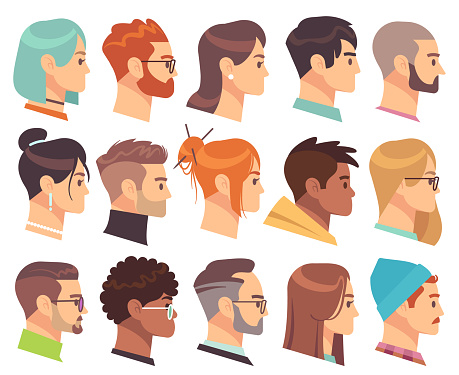 Flat heads in profile. Different human heads, male and female with various hairstyles and accessories. Colorful web avatars vector set