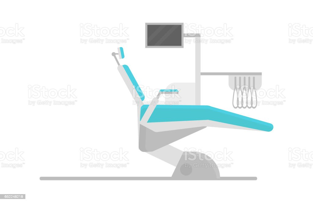 Flat health care dentist chair research medical healthcare concept and medicine instrument hygiene stomatology engineering vector illustration vector art illustration
