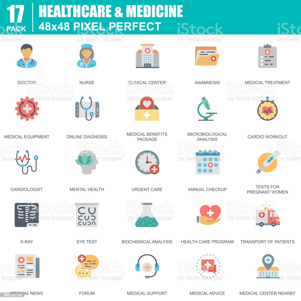 Flat healthcare and medicine, hospital services icons set for website vector art illustration