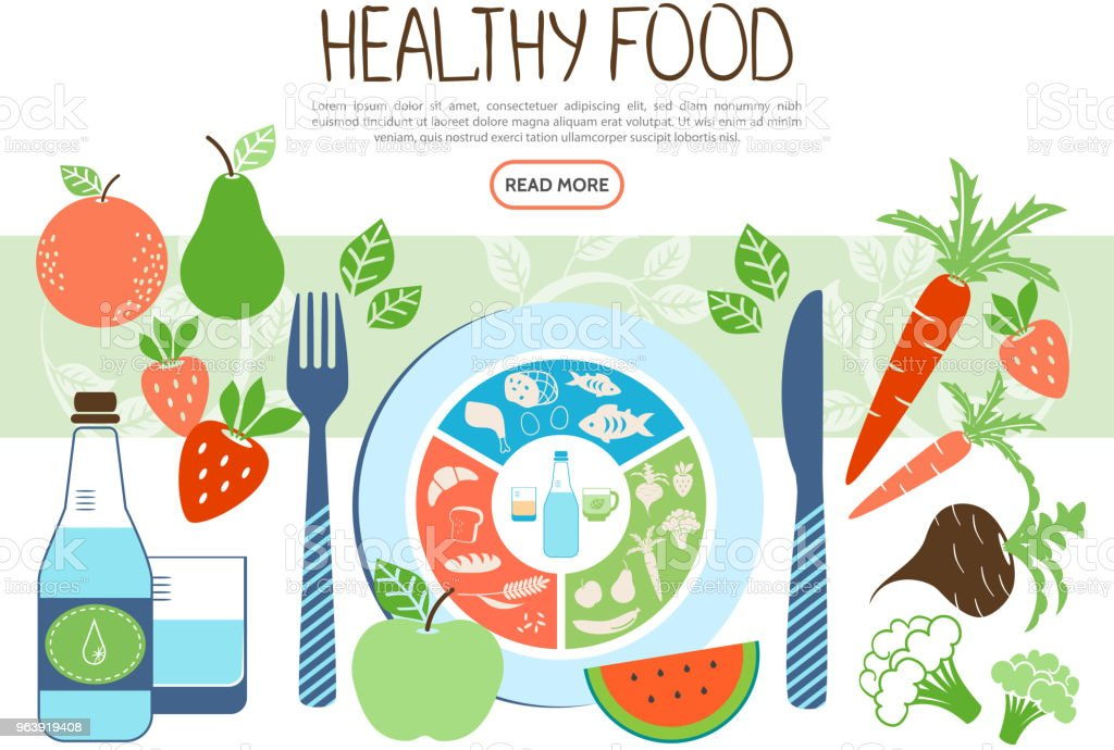Flat Healthy Food Concept - Royalty-free Abstract stock vector