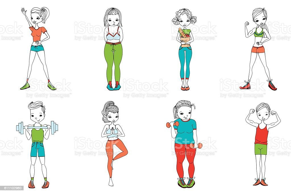 Flat Healthy Lifestyle Vector People Set Illustration: Women and Men vector art illustration