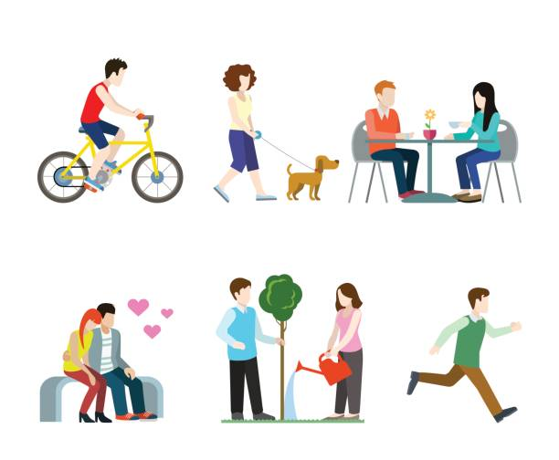 Flat high quality city street pedestrians icon set. Bicycle rider dog walker cafe table bench romantic lovers tree watering runner. Build your own world web infographic collection. Flat high quality city street pedestrians icon set. Bicycle rider dog walker cafe table bench romantic lovers tree watering runner. Build your own world web infographic collection. cycle vehicle stock illustrations