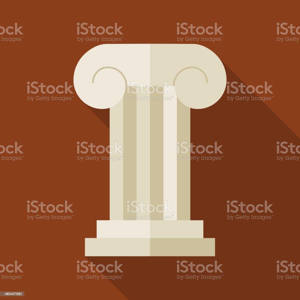 Flat History Ancient Ionic Pillar Illustration with long Shadow vector art illustration