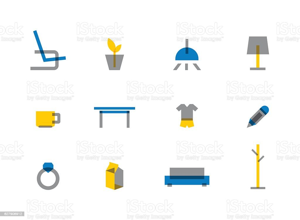 Flat Home Decoration Vector Icon Set Royalty Free Flat Home Decoration  Vector Icon Set Stock