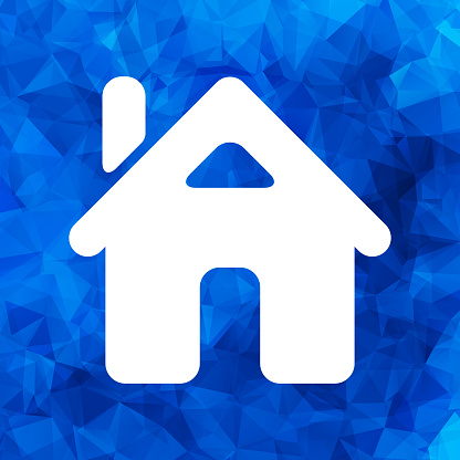flat home icon on a blue triangular polygonal background