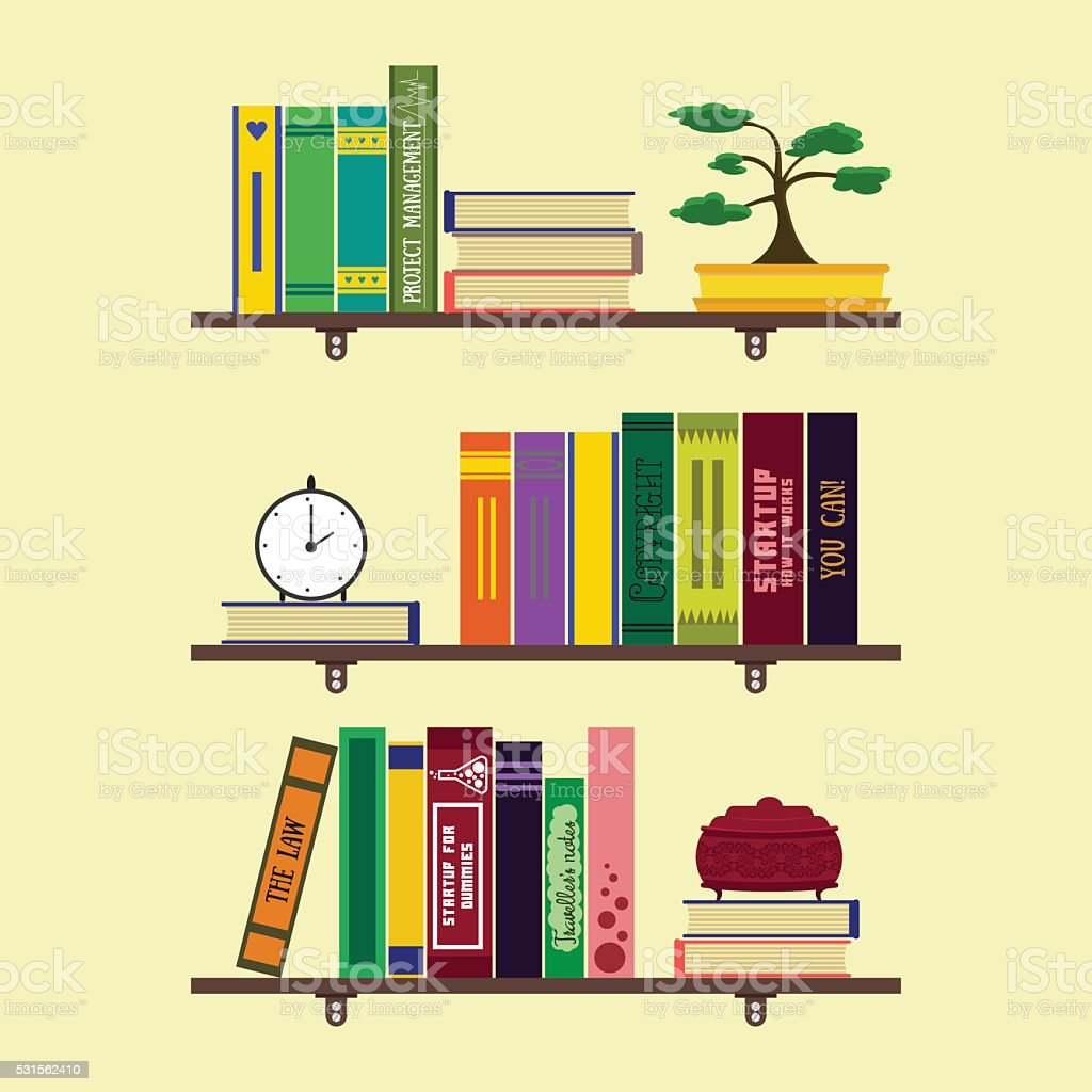 Flat home library or room bookshelves vector art illustration