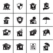 Flat Homeowners Insurance Icon Set. Simple flat colored silhouette. Various icons representing different damage situations such as storms, tornado, house fires and floods.