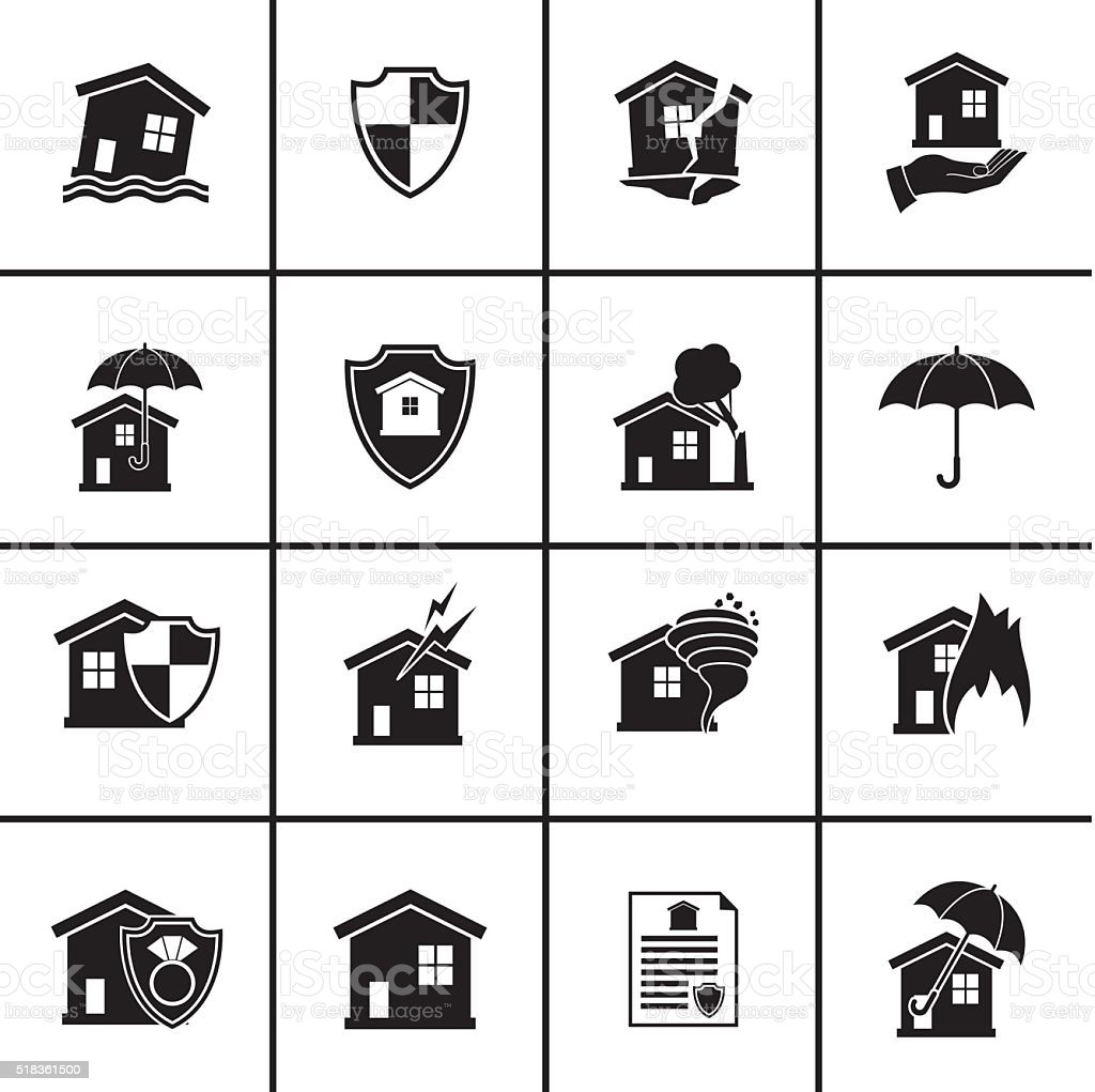 Flat Homeowners Insurance Icon Set vector art illustration