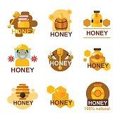 Flat honey badges, labels and logotypes set
