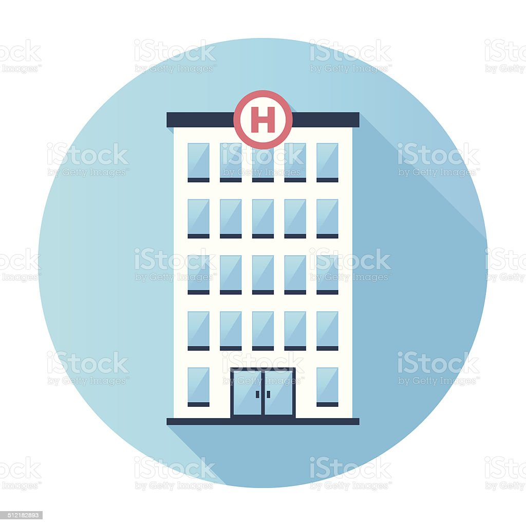 Flat Hospital Building Icon vector art illustration