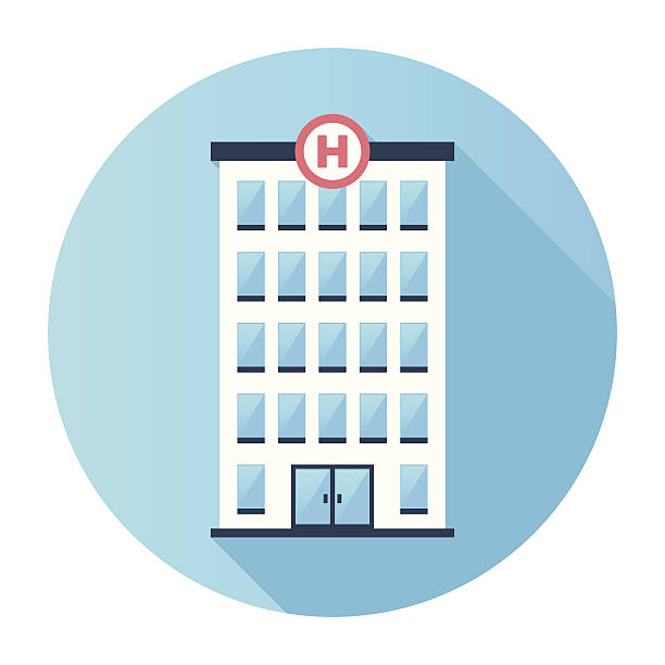 ilustraciones, imágenes clip art, dibujos animados e iconos de stock de hospital edificio icono plana - hospital