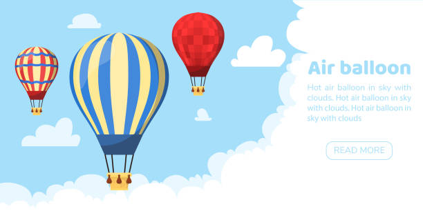 Flat hot air balloon Flat hot air balloon hot air balloon stock illustrations