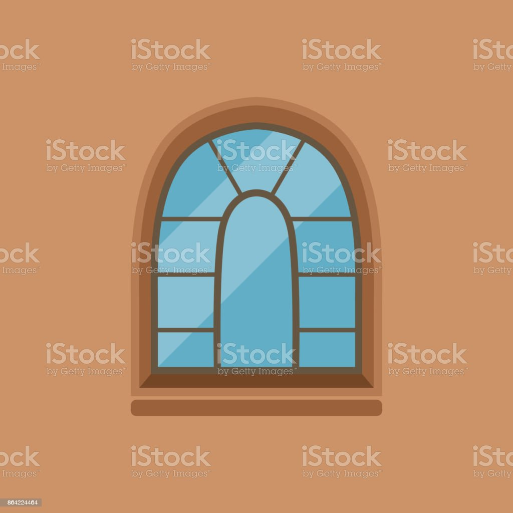 Flat house arched window on brown wall royalty-free flat house arched window on brown wall stock vector art & more images of art
