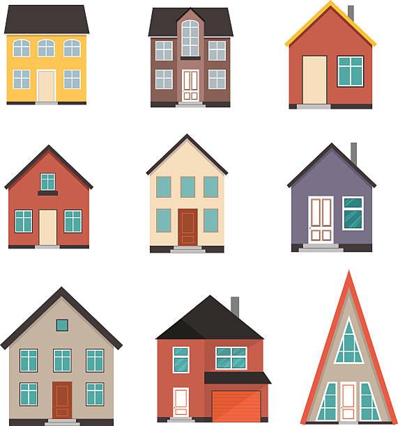 Flat House Icon set vector art illustration