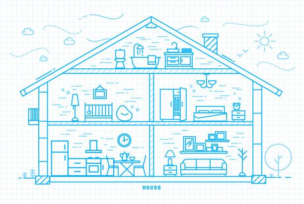 flache haus silhouette blau - waschküchendekorationen stock-grafiken, -clipart, -cartoons und -symbole