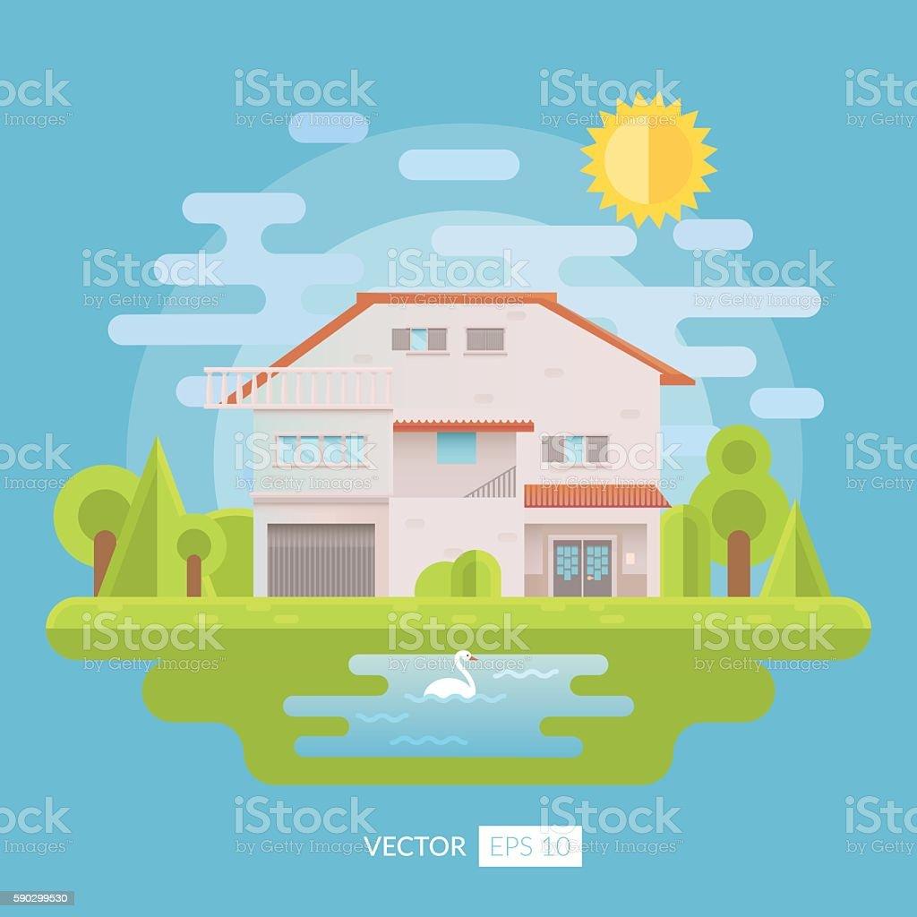 Flat house with garden and lake royaltyfri flat house with garden and lake-vektorgrafik och fler bilder på arkitektur