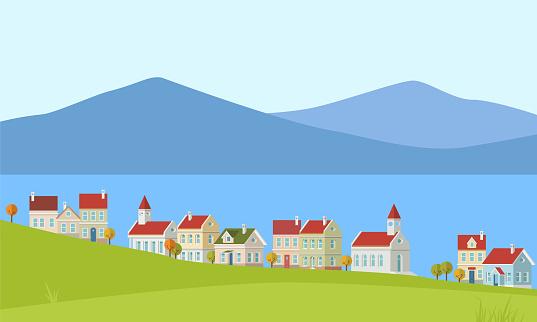 Cute houses near the sea in vector