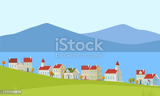 Cute houses near the sea in vector