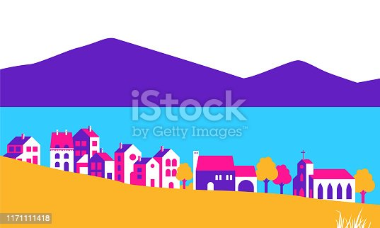Flat houses near the lake in vibrant color.