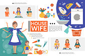 Flat housewife life template with woman doing different houseworks mother with baby iron washing machine broom vegetables kitchenware vector illustration