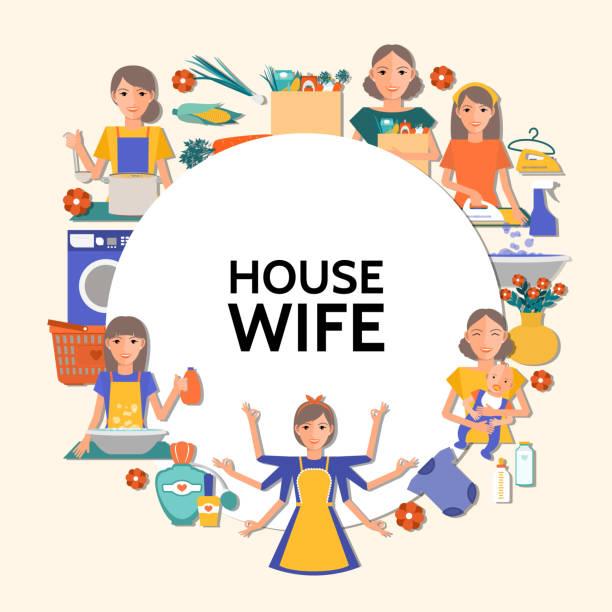 flache hausfrau runde konzept - waschküchendekorationen stock-grafiken, -clipart, -cartoons und -symbole