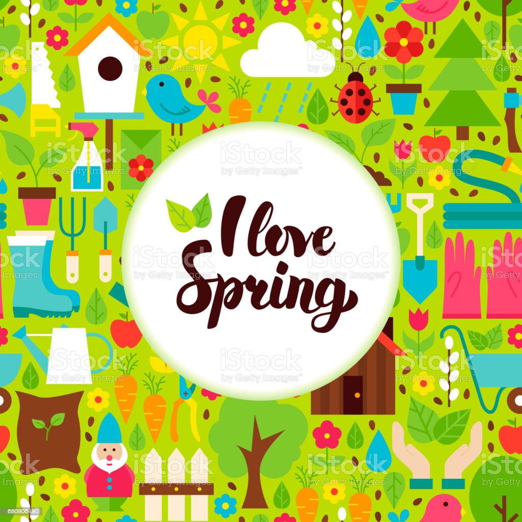Flat I Love Spring Greeting royalty-free flat i love spring greeting stock vector art & more images of agriculture
