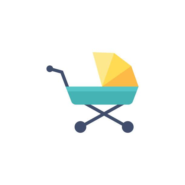 Flat icon - Baby stroller vector art illustration