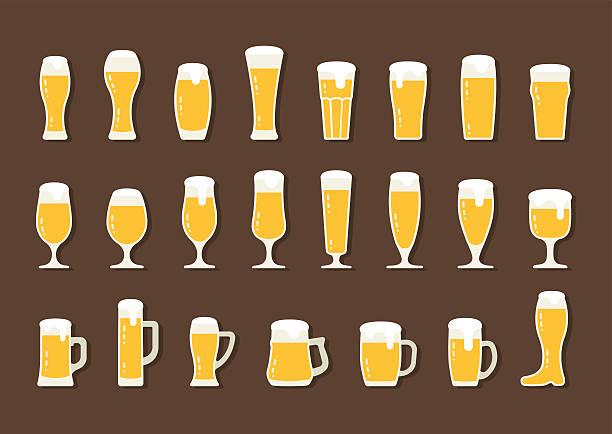 Flat icon beer with foam in beer mugs and glasses - ilustração de arte em vetor