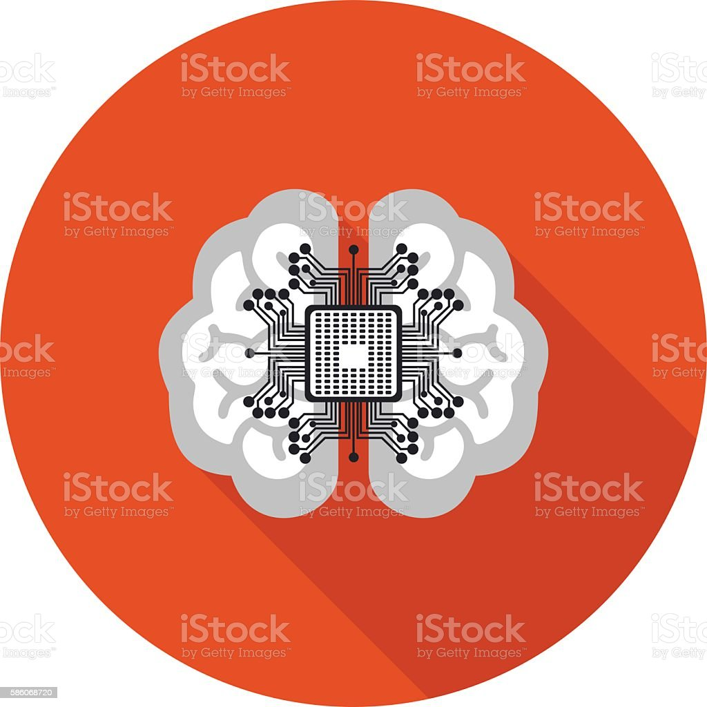 flat icon brain with a microchip vector art illustration