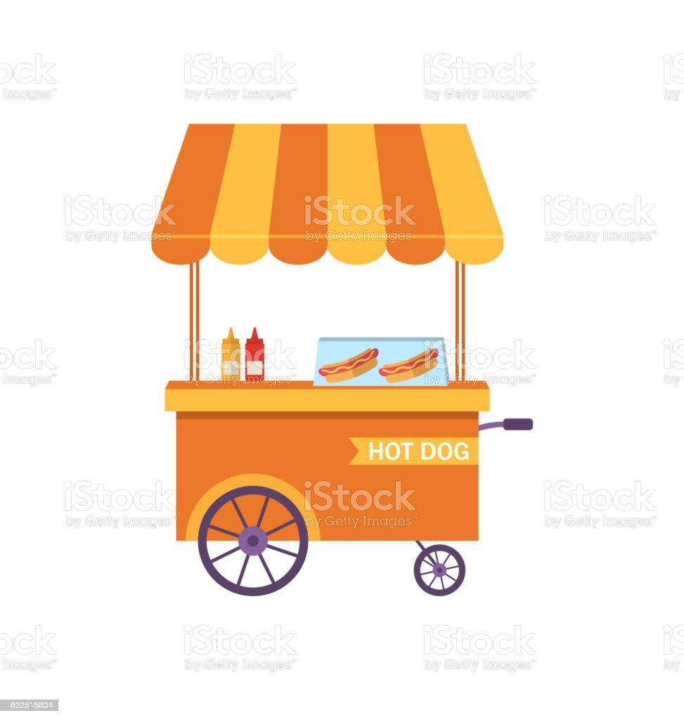 Flat Icon Cart of Hot Dog Isolated on White Background vector art illustration