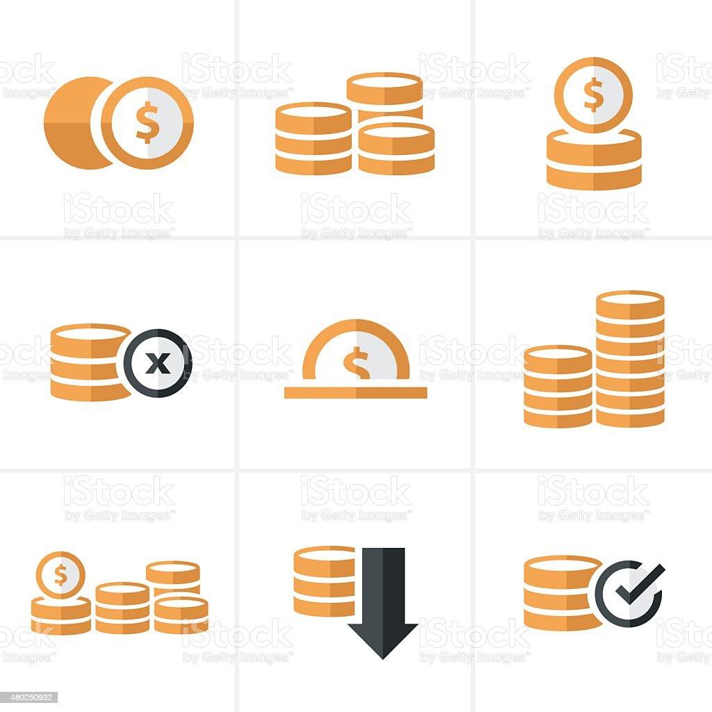 Flat icon  Coins Icons Set, Vector Design black color vector art illustration
