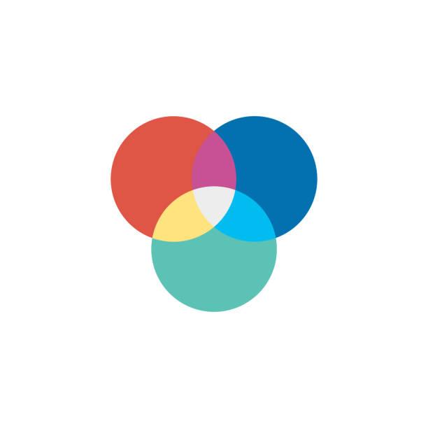 flach-symbol - farbräder - farbwahrnehmung stock-grafiken, -clipart, -cartoons und -symbole