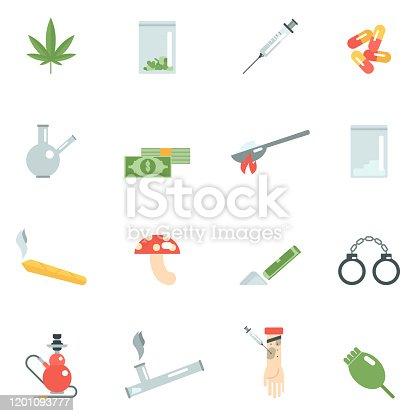 Drug addiction icons flat set with pills mushroom syringe isolated vector illustration