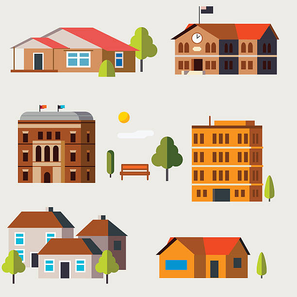 flat icon houses - apartment stock illustrations, clip art, cartoons, & icons