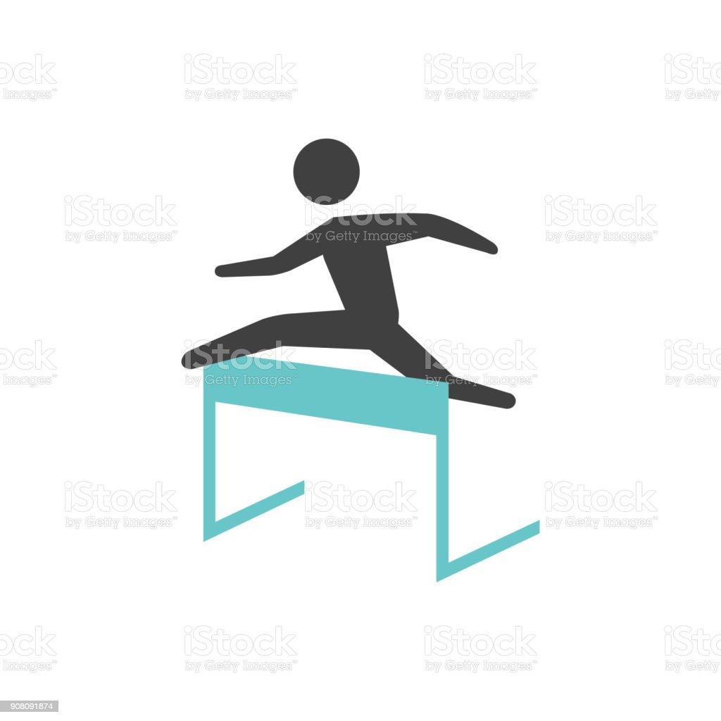 Flat icon - Hurdle run vector art illustration