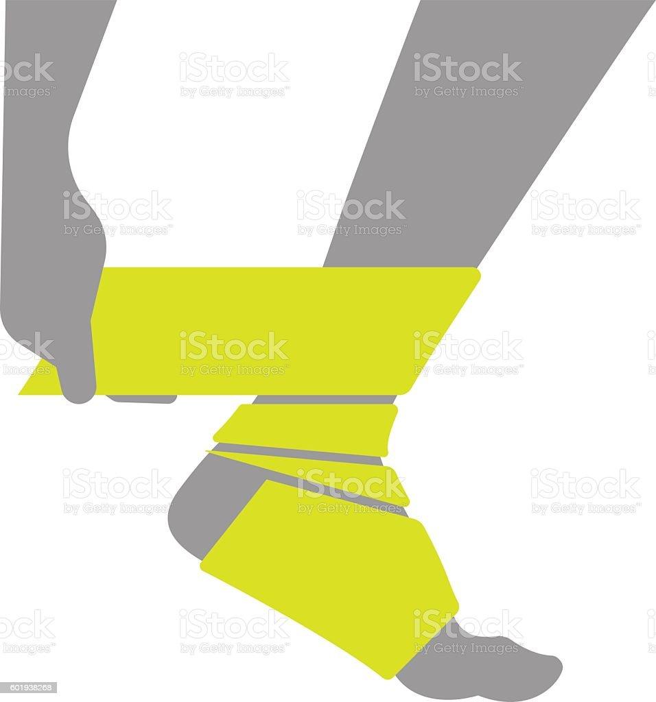 Flat icon injured leg or foot with bandage vector art illustration