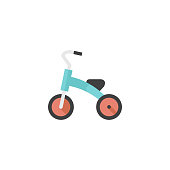 Kids tricycle icon in flat color style. Playing game toy